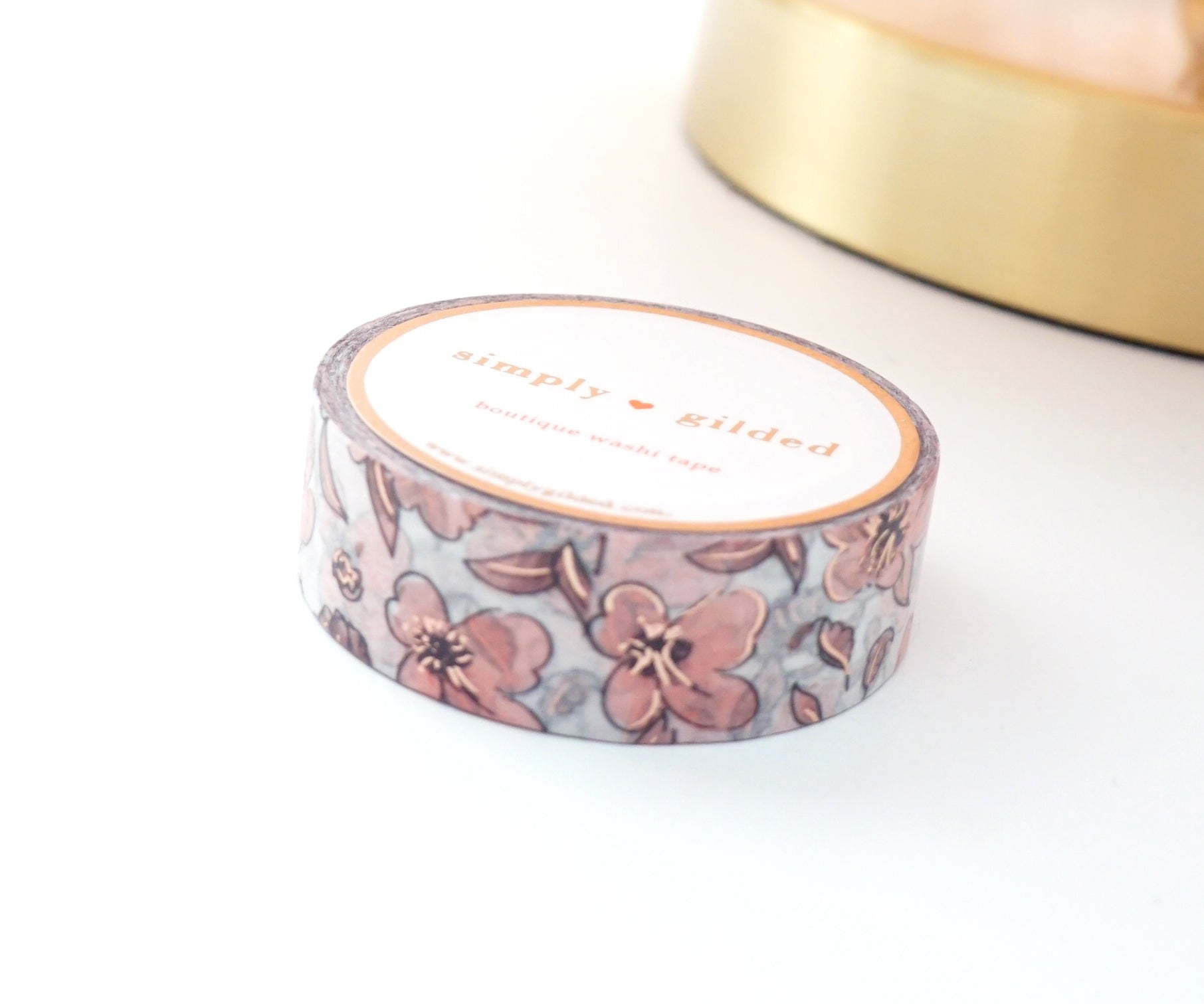 WASHI TAPE 15mm - ARTIST FLORAL + rose gold (Mystery Monday)