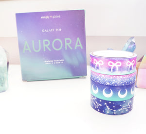 BOX SET of 4 washi - AURORA GALAXY set 11.0 + silver holographic (Restock)
