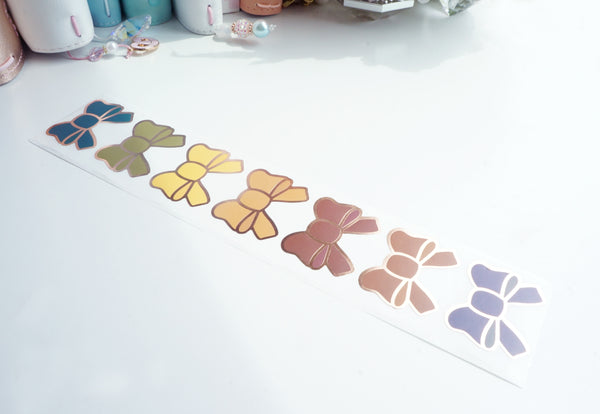 Bow labels- AUTUMN - rose gold foil bow seals
