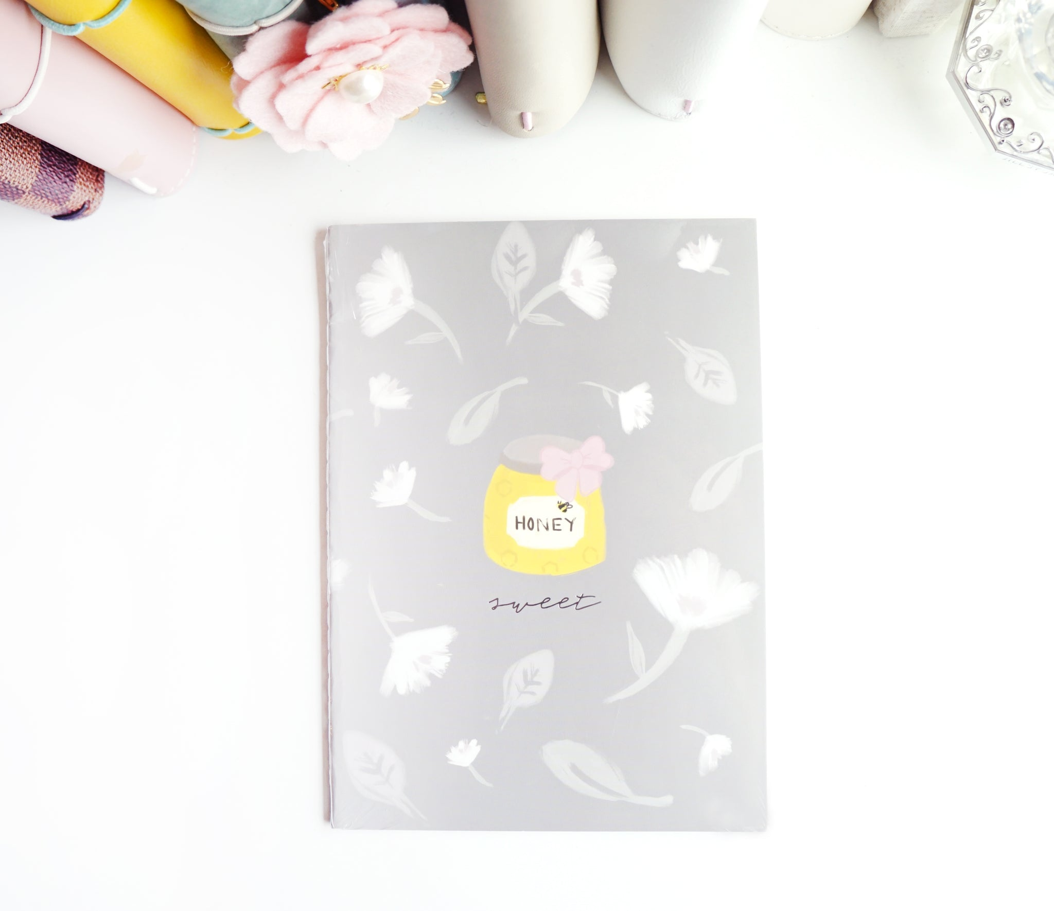 NOTEBOOK - May Flowers sweet HONEY - silver (Mystery Monday)