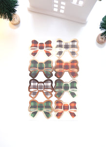 BOW SEALS LABELS - PAINTERLY Buffalo PLAID - LIGHT GOLD foil (November 19 Holiday Release)