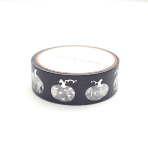 WASHI 15mm - BLACK & white PAINTED PUMPKINS + silver - Restock