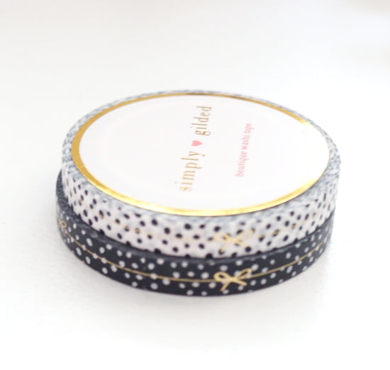 PERFORATED WASHI TAPE 6mm set of 2 - Black & White CONFETTI BOW LINE + champagne gold foil
