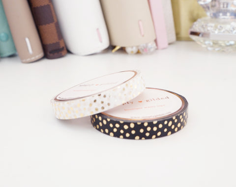 WASHI TAPE 7.5mm set of 2 - CONFETTI BLACK & WHITE DOTS + champagne gold foil (Mystery Monday)