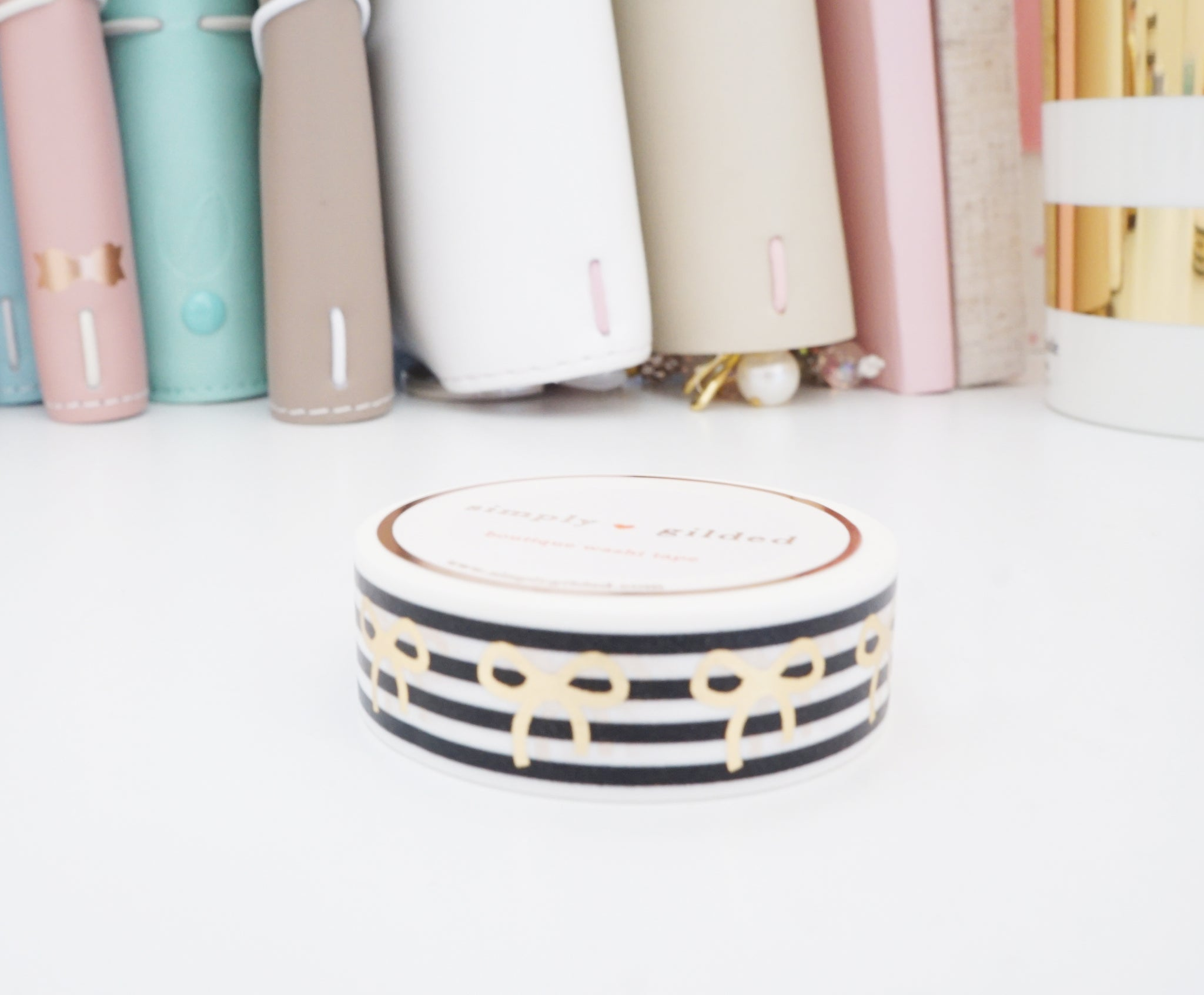 WASHI TAPE 15mm bow - BLACK & WHITE STRIPE + champagne gold foil (Mystery Monday)