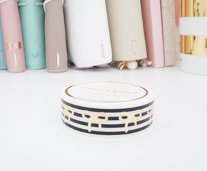 Black and White STRIPE + champagne gold foil bow washi tape - 15mm - LIMIT 1