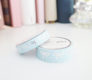 WASHI TAPE 15/10mm bow set BABY BLUE & WHITE POLKA DOT + silver foil (Last Chance)
