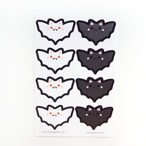 SEALS/LABELS - BLACK & White BATS + glossy black