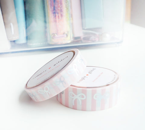 WASHI TAPE 15/10mm BOW set - BEACHY STRIPE PINK + silver holo (Mystery Monday)