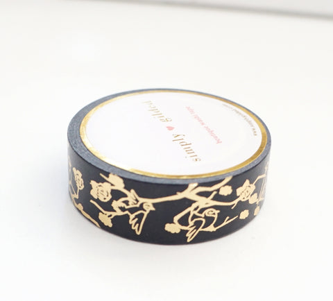 WASHI TAPE 15mm - BIRDS & BLOOMS 2.0 + champagne gold foil (Black Friday 19 Release)