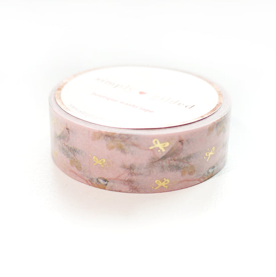 WASHI 15mm - BIRDS in Branches + lt gold mini bow (pink)