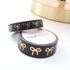WASHI TAPE 15/10mm bow set Black + ROSE GOLD foil