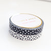 7.5mm WASHI TAPE set of 2 - BLACK & WHITE Confetti