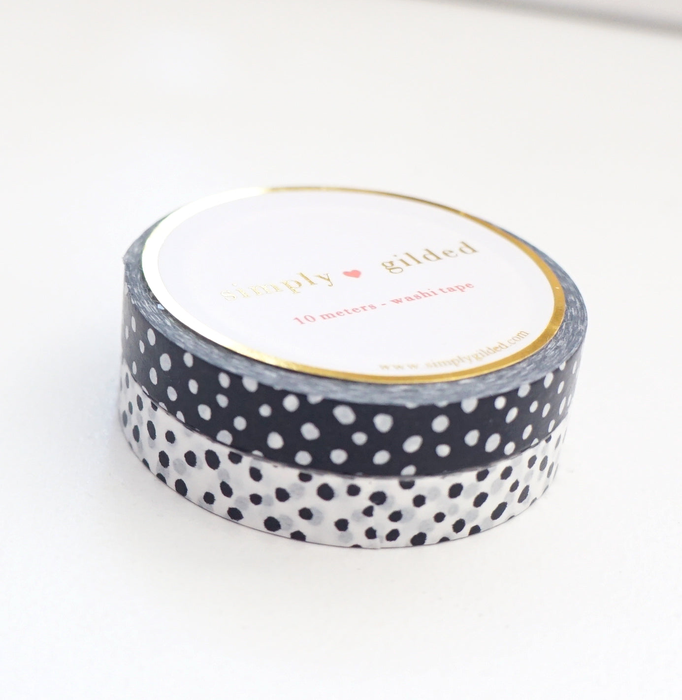 7.5mm WASHI TAPE set of 2 - BLACK & WHITE Confetti  (Black Friday 19 Release)