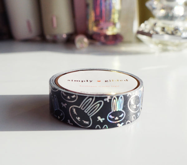 WASHI TAPE 15mm - Mini bow JUNIPER + BLACK +  silver holographic foil (Mystery Monday)