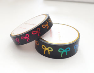 WASHI TAPE 15/10mm BOW set - BLACK + RAINBOW foil bow (Black Friday 19 Release)