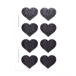 SEALS/LABELS - HEART seals - black on black leopard
