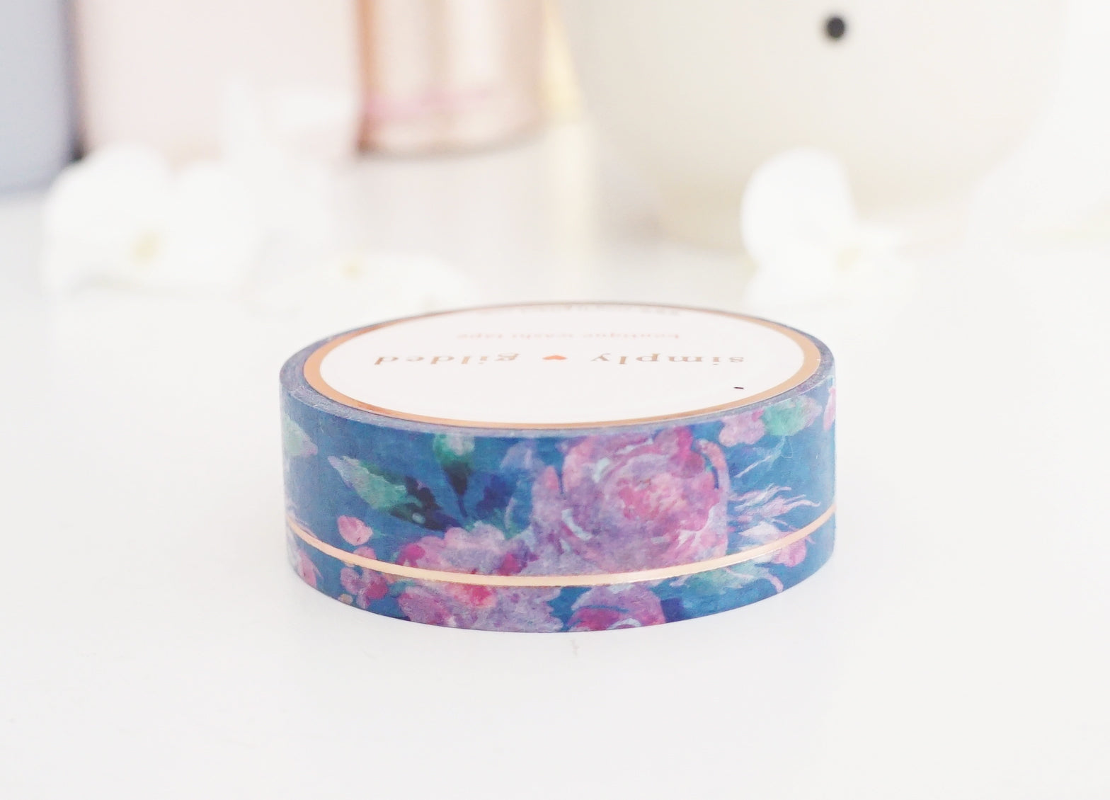 WASHI TAPE 15mm BLUE & PINK FLORAL SIMPLE LINE + rose gold foil (August 2 release)