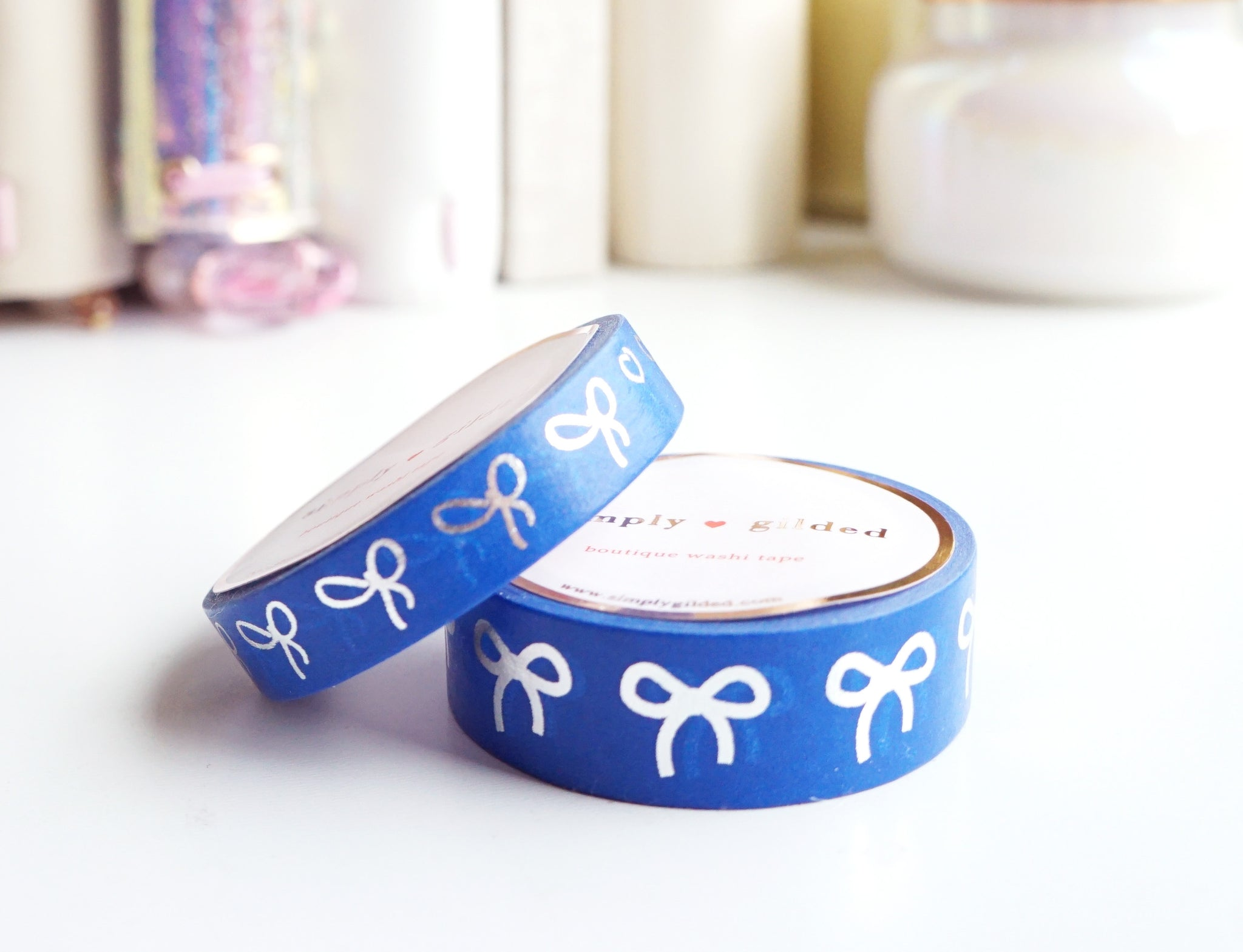WASHI TAPE 15/10mm BOW set - PATRIOTIC BLUE + silver (Mystery Monday)