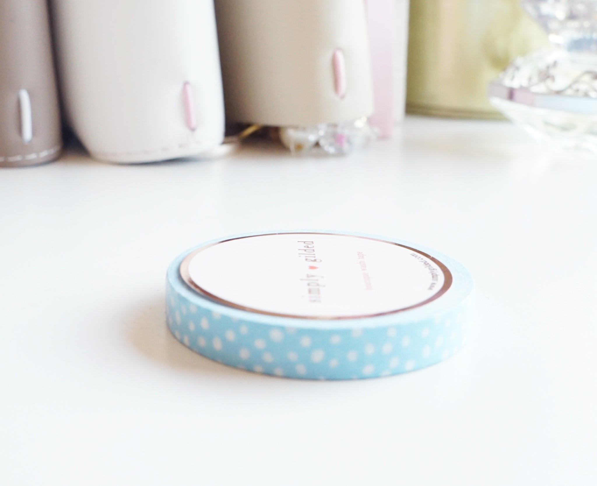 WASHI TAPE 7.5 mm - BLUE and WHITE confetti dot