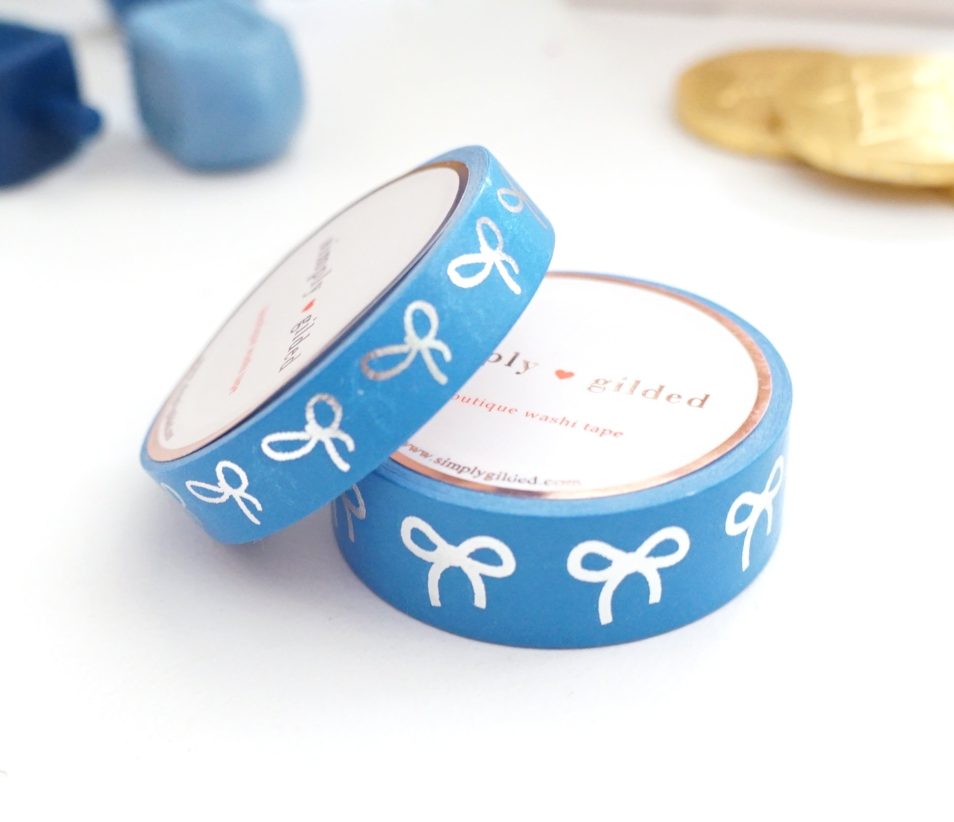 WASHI TAPE 15/10mm BOW set - Blue BLISS + silver foil