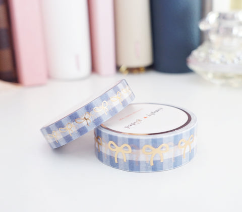 WASHI TAPE 15/10mm bow set BLUE & WHITE GINGHAM + light gold foil (Last Chance)