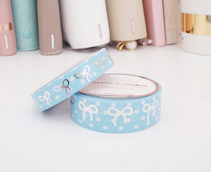 LIGHT BLUE & white POLKA DOT and SILVER foil bow washi tape set