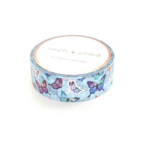 WASHI TAPE 15mm - BLUE Butterfly + silver (July 6 Micro Release)