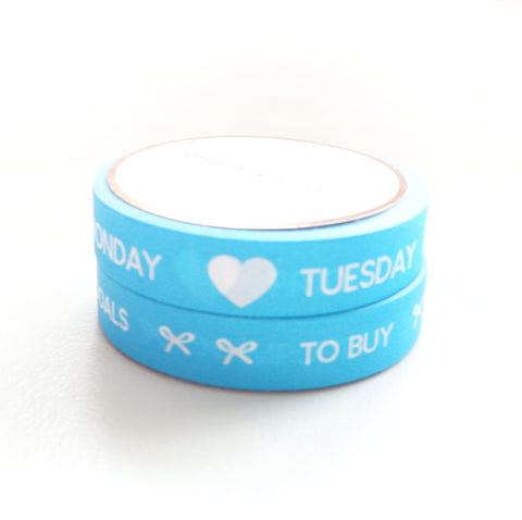 BUNDLE - PERFORATED WASHI TAPE 10mm set of 2 - Days of the Week & Tasks NEON BLUE + white text (June Mini Release)