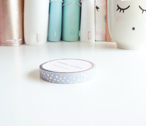 WASHI TAPE 7.5mm - BLURPLE CONFETTI + champagne gold foil
