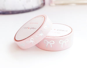 WASHI TAPE 15/10mm BOW set - Classic PINK + Silver holographic Crushed ICE foil (January 31 Mini Release)