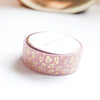 WASHI TAPE 15mm - BLUSH LEOPARD + light gold foil