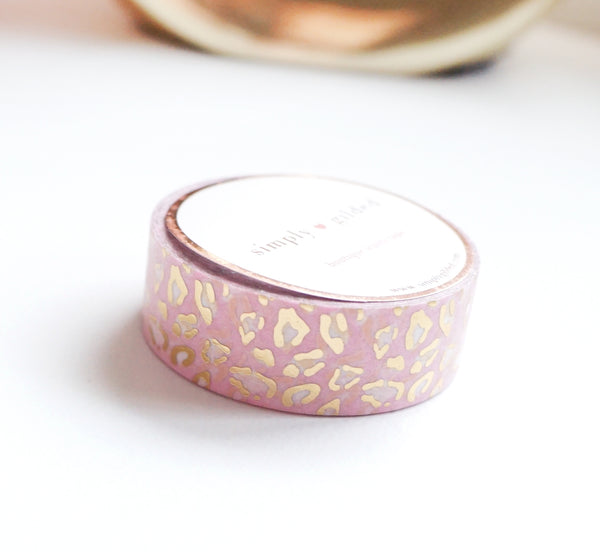 WASHI TAPE 15mm - BLUSH LEOPARD + light gold foil (January 10 Release)