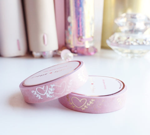 WASHI TAPE 10/10mm set of 2 BOKEH HEARTS + silver/light gold foil (Mystery Monday)