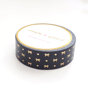 WASHI TAPE 15mm - Black HEART & BOW pattern + champagne gold foil (Black Friday 19 Release)