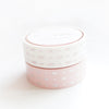 WASHI TAPE 15/15mm set of 2 - HEART & BOW PINK/WHITE set + silver/rose pink foil