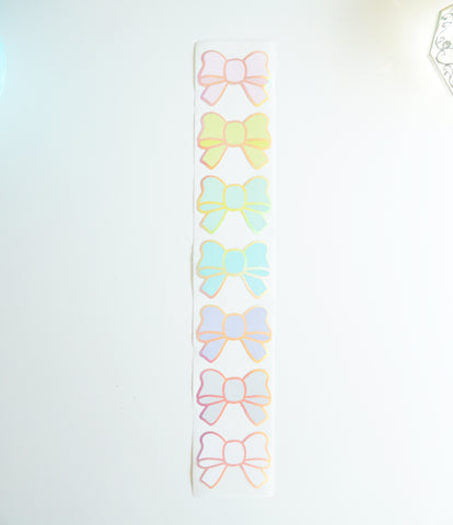 Bow labels- CANDY - silver holographic foil bow seals