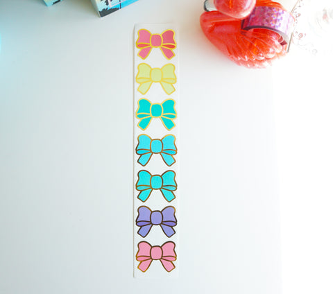 Bow labels- TROPICAL - gold foil bow seals