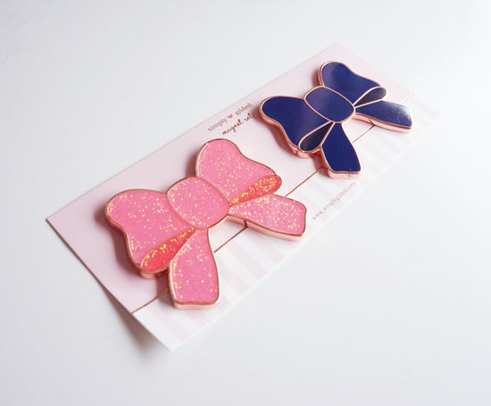 MAGNET - NAVY and HOT PINK Glitter BOW set