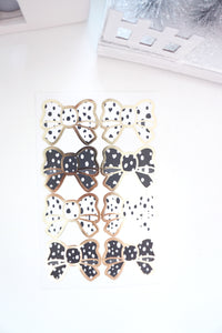 BOW SEALS LABELS - black & white DALMATIAN - LIGHT GOLD foil