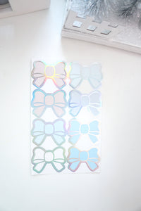 BOW SEALS LABELS - SNOW QUEEN Bow Seals + silver holographic foil