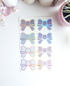 BOW LABEL STICKER set - STORMY Bow - holographic foil