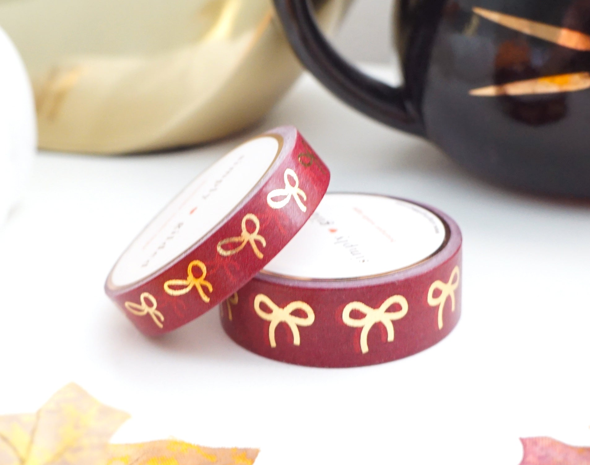 WASHI TAPE 15/10mm bow set BRAVE BURGUNDY + gold foil washi tape (October 2019 Release)