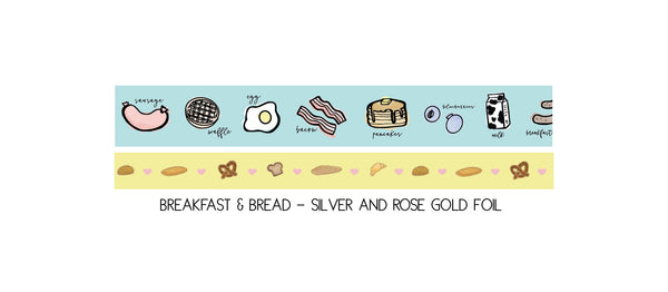 WASHI TAPE 15/10mm set - BREAKFAST & BREAD + silver/rose gold (May Release, Presale) LIMIT of 2