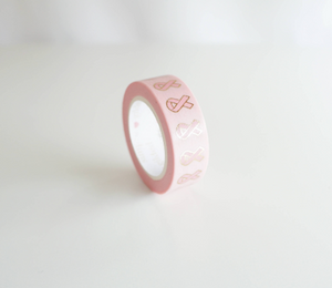 WASHI TAPE 15mm - BREAST CANCER AWARENESS RIBBON + gold foil (Mystery Monday)