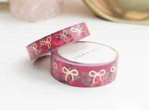WASHI TAPE 15/10mm bow set - BRIGHT PINK FLORAL + rose gold foil bow (January 10 Release)