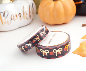 WASHI TAPE 15/10mm bow WATERCOLOR RED & BLACK BUFFALO CHECK + lt. gold foil bow