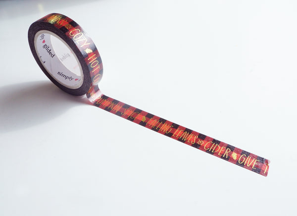 Red/Black Buffalo plaid WORDS + gold foil washi tape (WORDS)