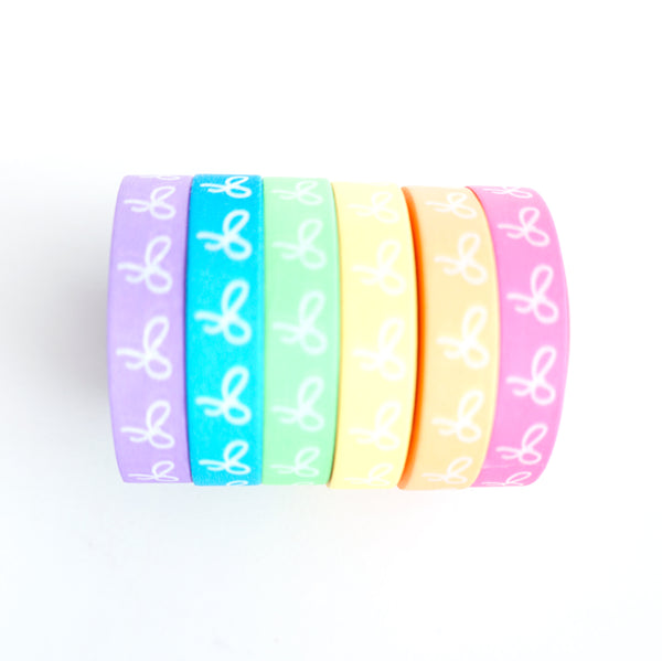 BUNDLE UPDATED - WASHI TAPE 10mm bow set of 6 - NEON set + white bows (Mermaid Dreams Release)