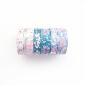 BUNDLE - WASHI 15/10mm set of 6 - Floral Heart & Moon + Lt. Gold + Silver OOPS